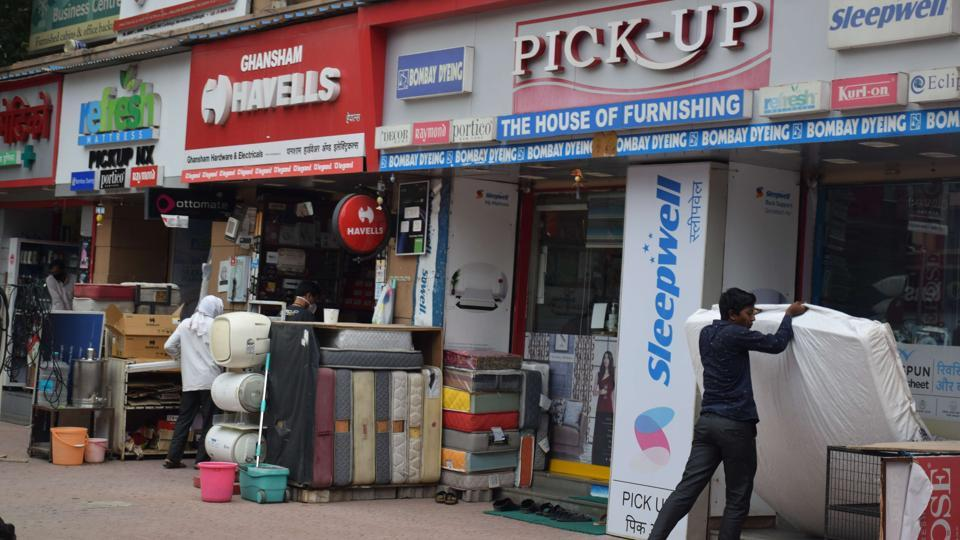Non-essential shops were open at Baner after lockdown restriction lifted slightly after concerns over spread of Covid-19 novel coronavirus in Pune.
