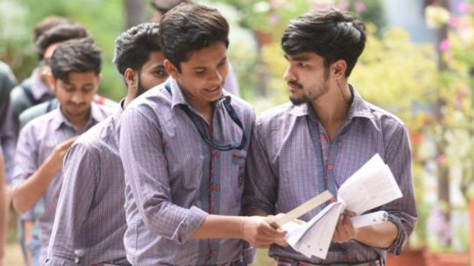 Students of class 12th leave after appearing for the CBSE Board Exam of accountancy, at Blue Bell International School, Greater Kailash, in New Delhi, India, on Thursday, March 5, 2020.