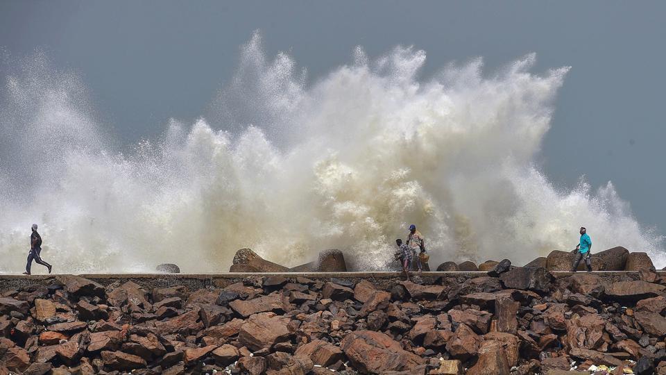 Turbulent waves crash into the coast Kasimedu Fishing Harbour, ahead of landfall by Cyclone Amphan, in Chennai, on Tuesday.
