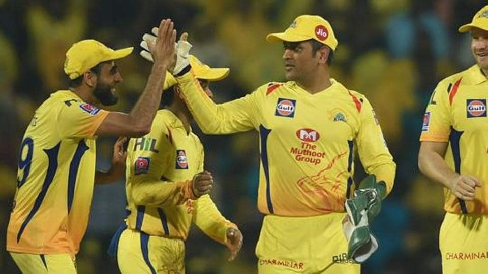 CSK skipper MS Dhoni celebrates his team's victory with teammates in the Indian Premier League 2019 (IPL T20).