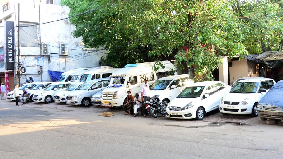 Taxis parked outside the Ludhiana railway station on Wednesday.