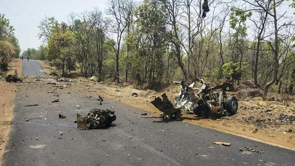The rebels blocked the road in Dhanora taluka and torched the four heavy vehicles, an official said.
