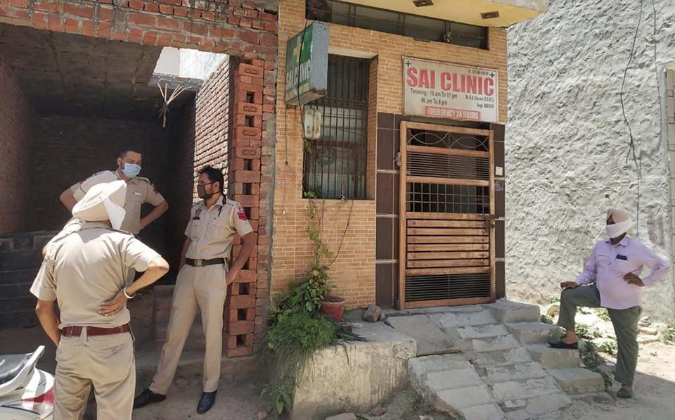 A team of health department and city police during a raid at a clinic in  Guru Teg Bahadur Nagar in  Ludhiana on Wednesday.