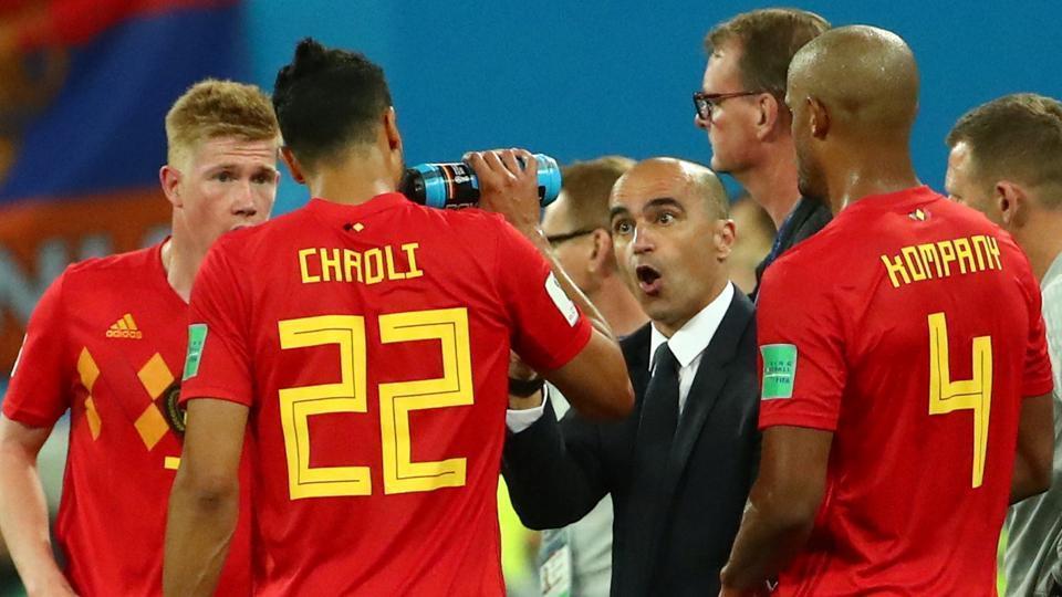Belgium coach Roberto Martinez gives instruction to his team.
