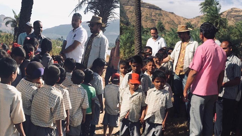 Irrfan Khan with school kids at a farmhouse.