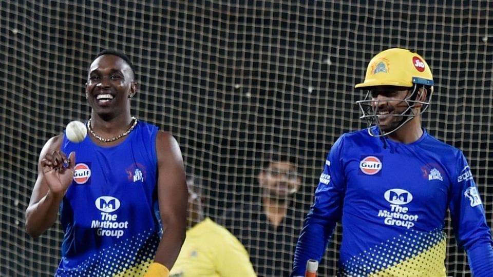 Dwayne Bravo and MS Dhoni during a CSK nets session