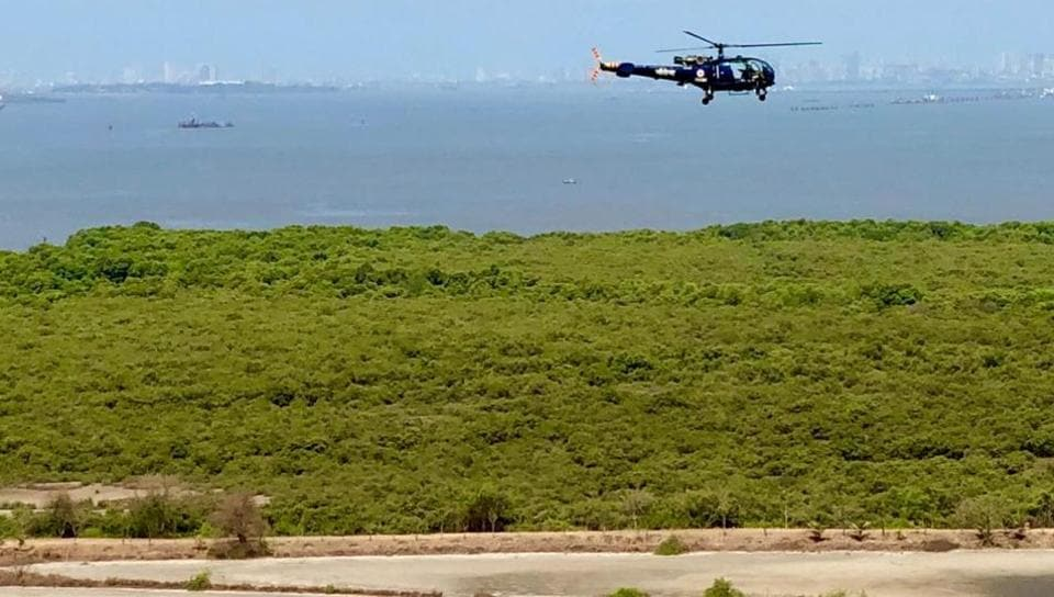 The Indian Navy said they undertook a routine migratory bird survey sortie as flamingos and waders were a flight safety hazard.