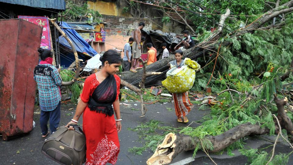 The cyclonic storm, which triggered heavy rains and accompanied high-velocity winds gusting up to 190 kmph in coastal areas, made a landfall in the Sunderbans in West Bengal on Wednesday evening.