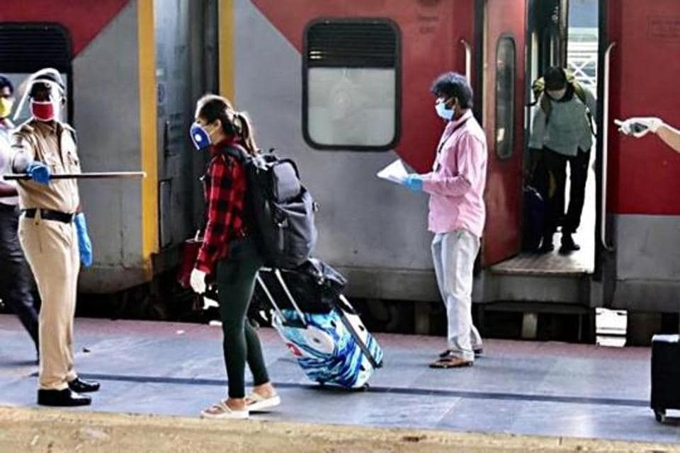 The passengers were allowed to board the trains with face masks while ensuring social distancing and other precautions.