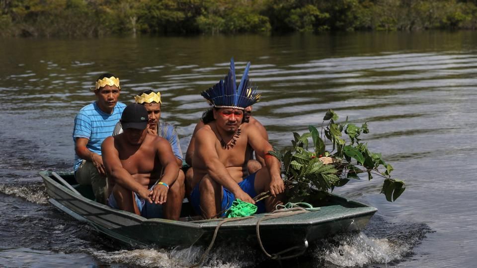 Satere-Mawe indigenous leader Andre Satere (R) and others on an expedition to collect medicinal plants. In this small motor boat, five men from the Satere Mawe tribe are trying to help their people survive without using the saturated state health system in Amazonas, which despite its remoteness is one of the places hit hardest by the pandemic in Brazil. (Ricardo Oliveira / AFP)
