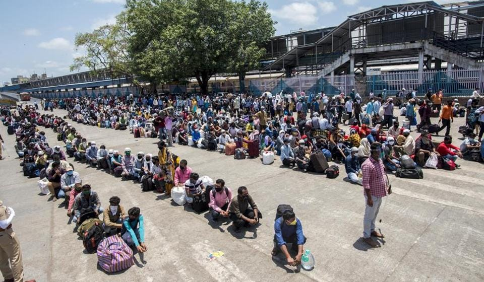 Migrant workers and their family arrives at Bandra Terminus in Mumbai, India, on Wednesday, May 20, 2020/ representative.