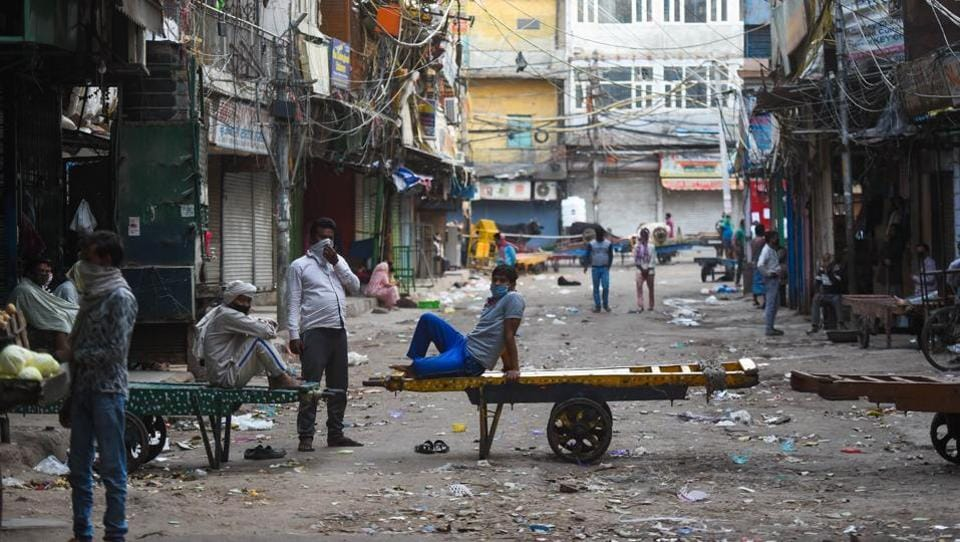 Push carts lined along a stretch in a deserted Sadar Bazar during lockdown, in New Delhi. In normal times, the market is always jam-packed and social distancing seems an impossible proposition here—and so is the odd-even formula the government has proffered. (Amal KS / HT Photo)