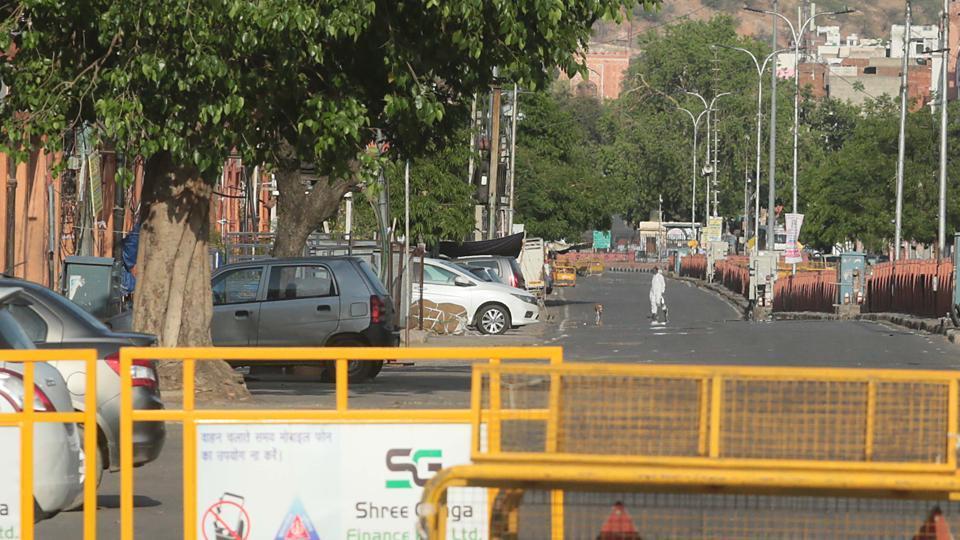 Curfew-bound Ramganj area in Jaipur, Rajasthan.