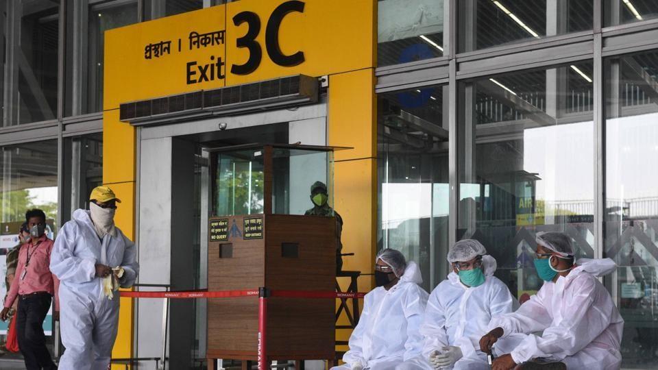 Medical workers in PPE suits seen at Netaji Subhash Chandra Bose International Airport in Kolkata, West Bengal.