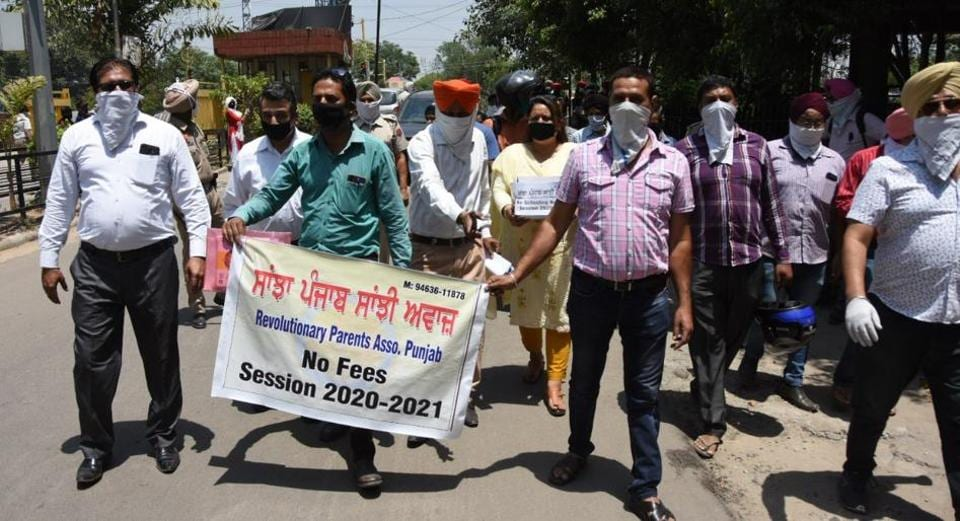Over 25 members gathered outside the mini secretariat and protested against private schools in Ludhiana on Friday.