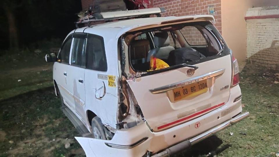The Innova car was damaged in the accident in Uttar Pradesh's Mirzapur on Friday morning.