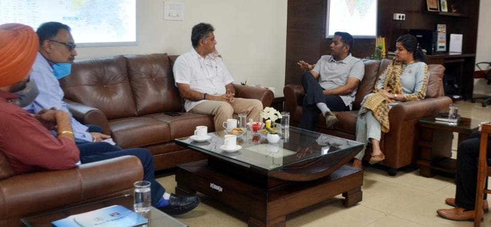 Anandpur Sahib member of Parliament Manish Tewari in a meeting with Mohali deputy commissioner Girish Dayalan at the District Administrative Complex in Sector 76, Mohali, on Friday.