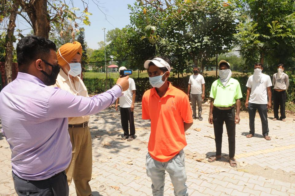 Caddies are thermal scanned before entry at the Chandigarh Golf Club in Sector 6 every day.