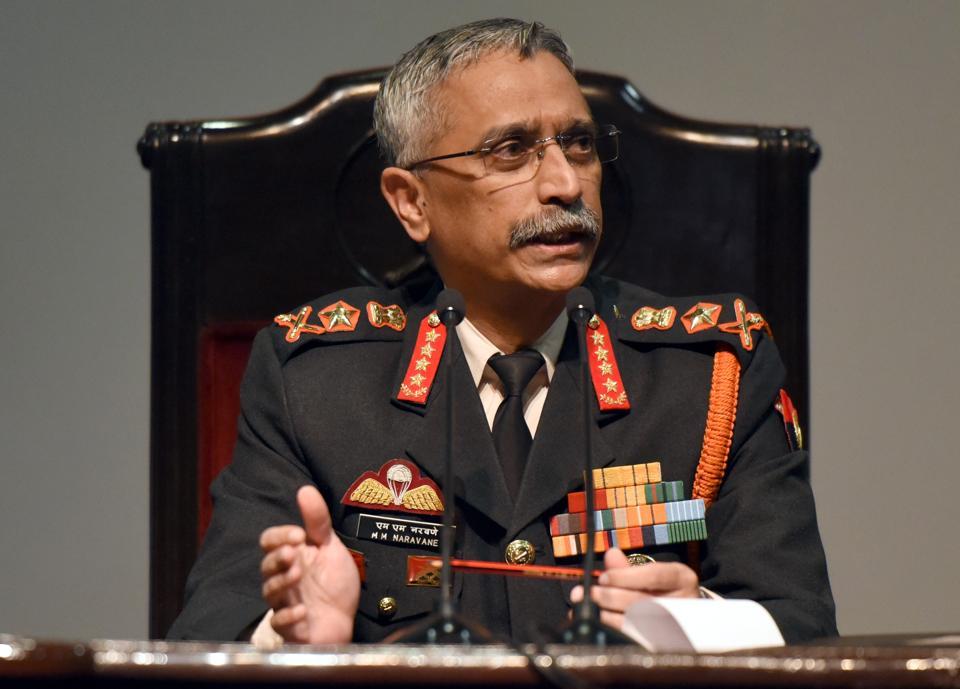Chief of the Army Staff General Manoj Mukund Naravane at Manekshaw Centre in the Delhi Cantt, in New Delhi.