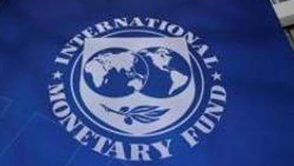 The International Monetary Fund logo is seen during the IMF/World Bank meetings in Washington, US.