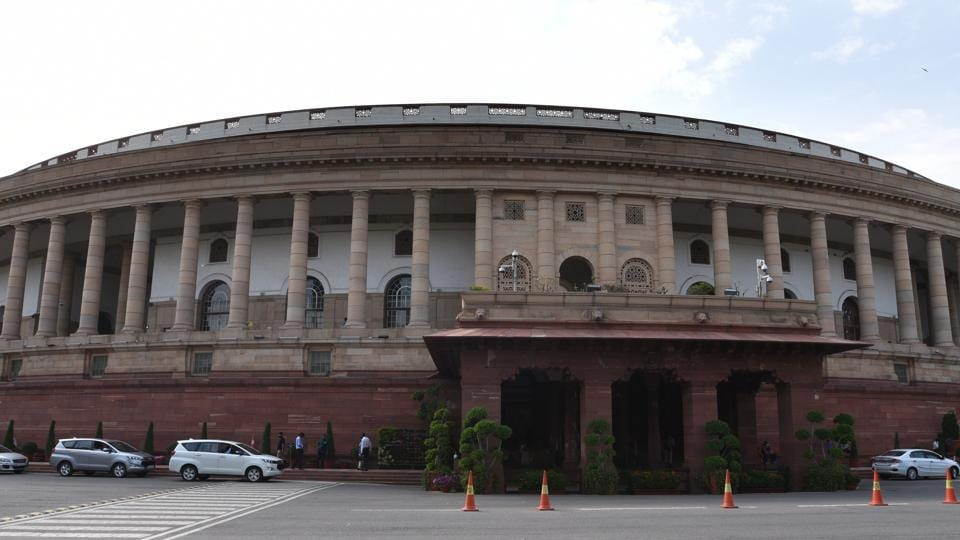 A view of Parliament house during the ongoing budget session in New Delhi.