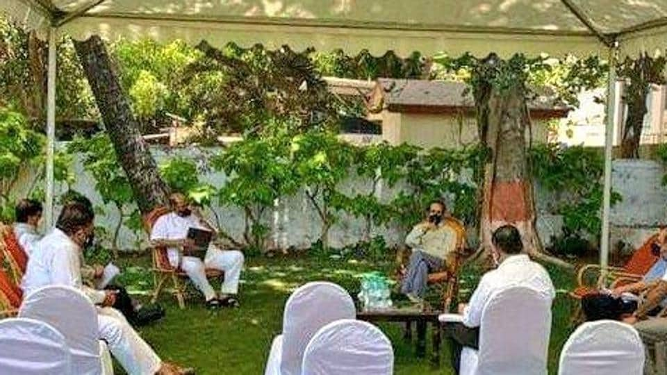 The NCP tweeted that its Maharashtra unit chief and the state water resources minister Jayant Patil, Shiv Sena Rajya Sabha MP Sanjay Raut and chief secretary Ajoy Mehta too were present.