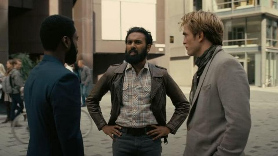 John David Washington, Himesh Patel and Robert Pattinson in a still from the Tenet trailer.