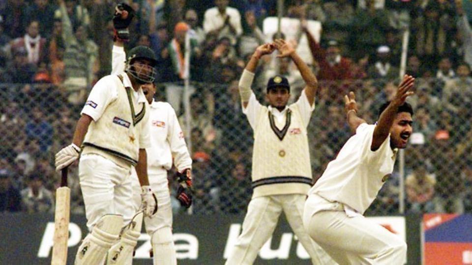 Anil Kumble during the India vs Pakistan 1999 Test match at Feroz Shah Kotla