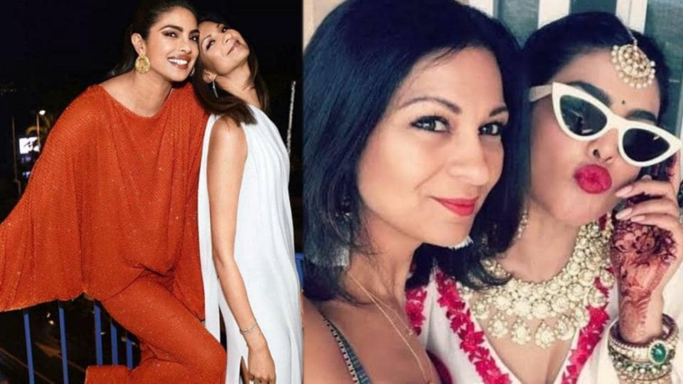(Left) Priyanka Chopra with Anjula Acharia at a Cannes party and during her mehendi ceremony.