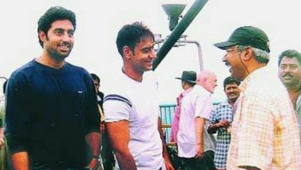 Abhishek Bachchan with co-star Ajay Devgn and director Mani Ratnam at Yuva's shoot.