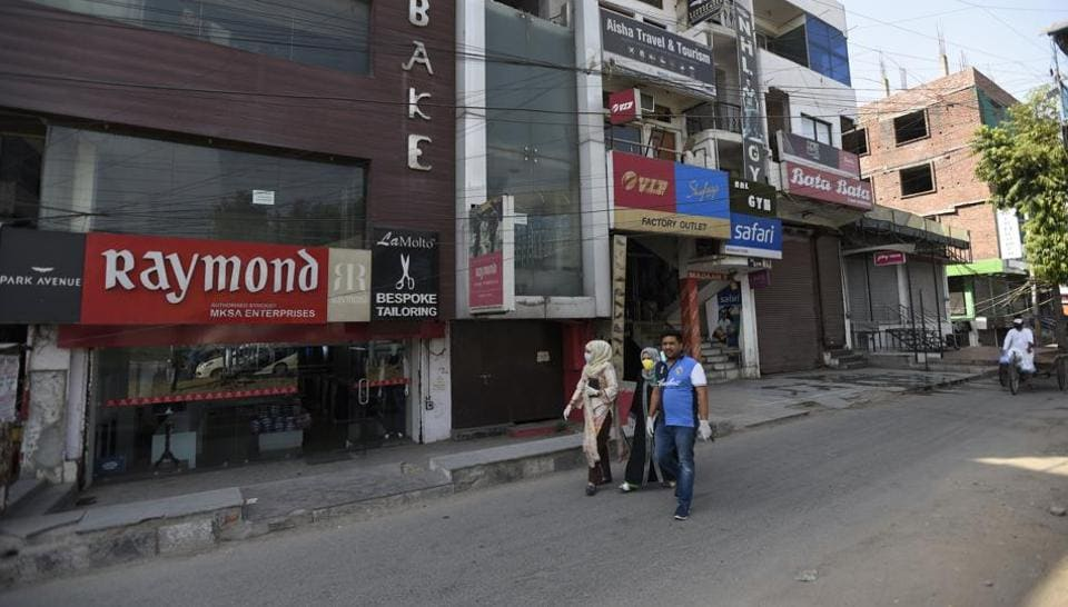 Shops in the Shaheen Bagh market partially open after a gap of five months, due to the anti CAA and NRC protests and later the lockdown against coronavirus, in New Delhi, India, on Friday, May 22, 2020.