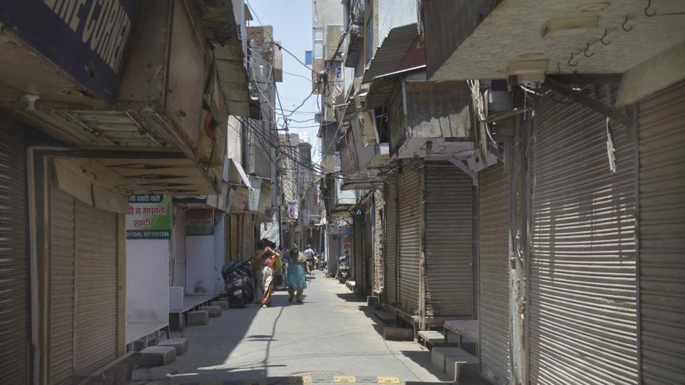 Shuttered shops in the Chopla Mandir market in Ghaziabad on Thursday.