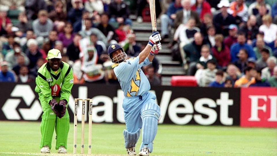 India's Sachin Tendulkar hits a four on his way to scoring 140 not out against Kenya at the 1999 World Cup