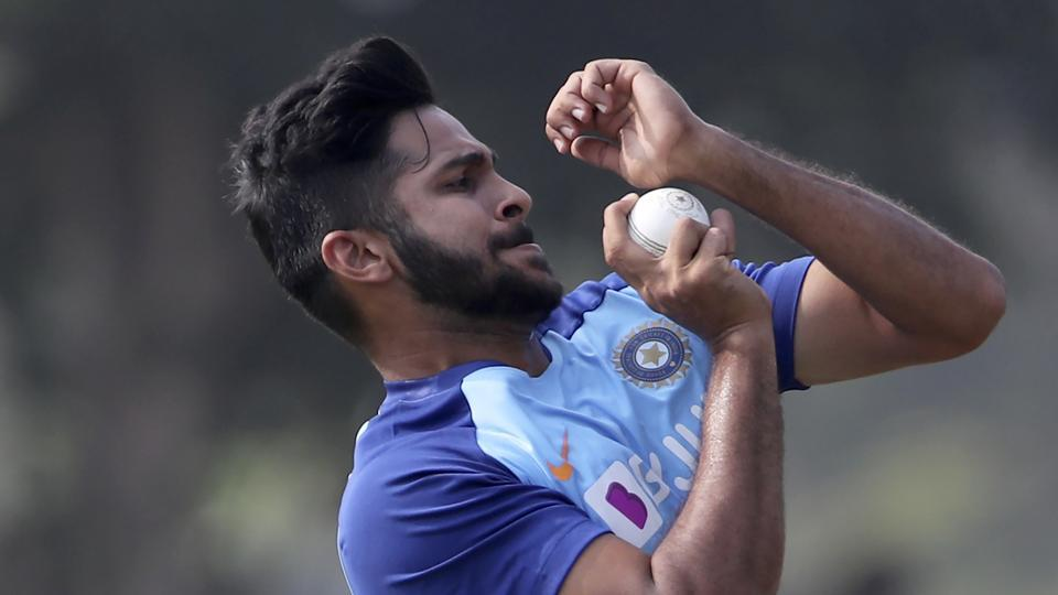 File image of India's Shardul Thakur bowls in the nets during a training session.