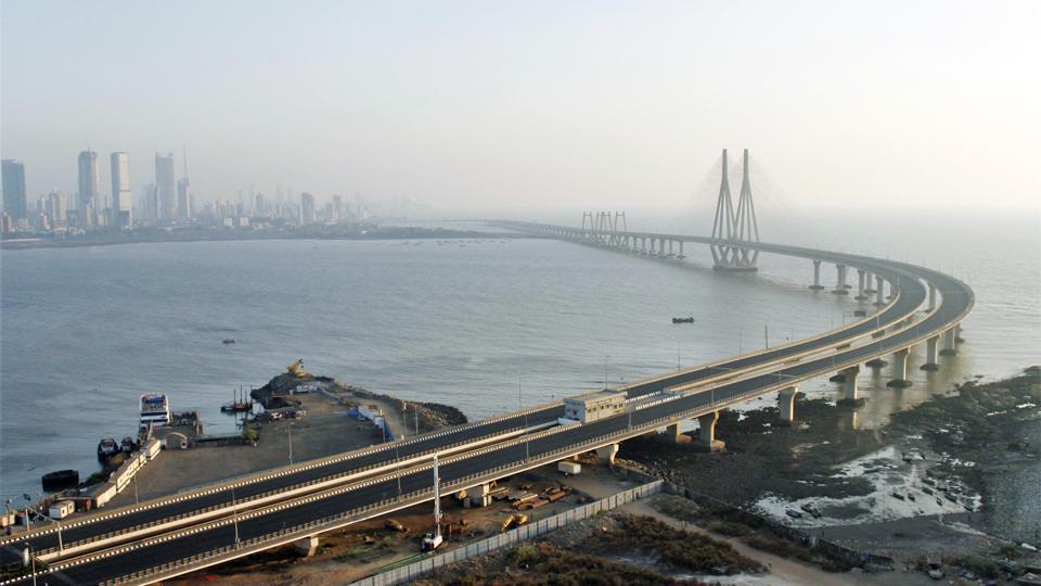 An aerial view of the deserted Bandra-Worli Sealink, Mumbai