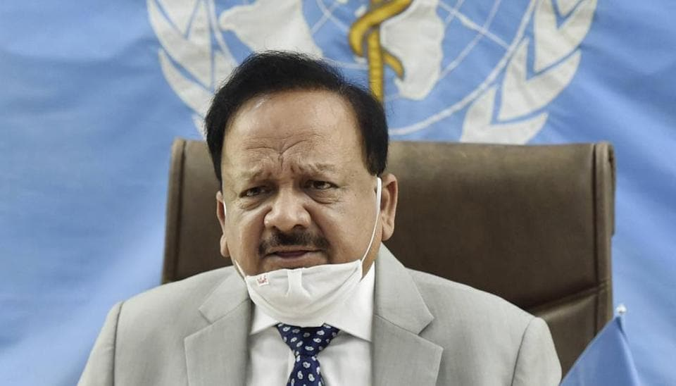 Union health minister Harsh Vardhan during the 147th session of the World Health Organization Executive Board meeting, May 22, 2020