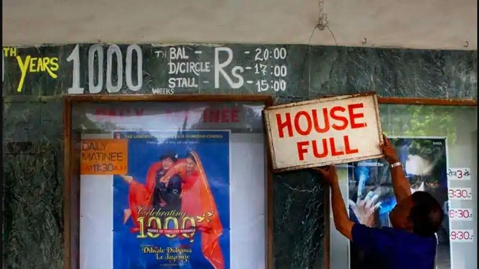 The famous Maratha Mandir theatre in Mumbai