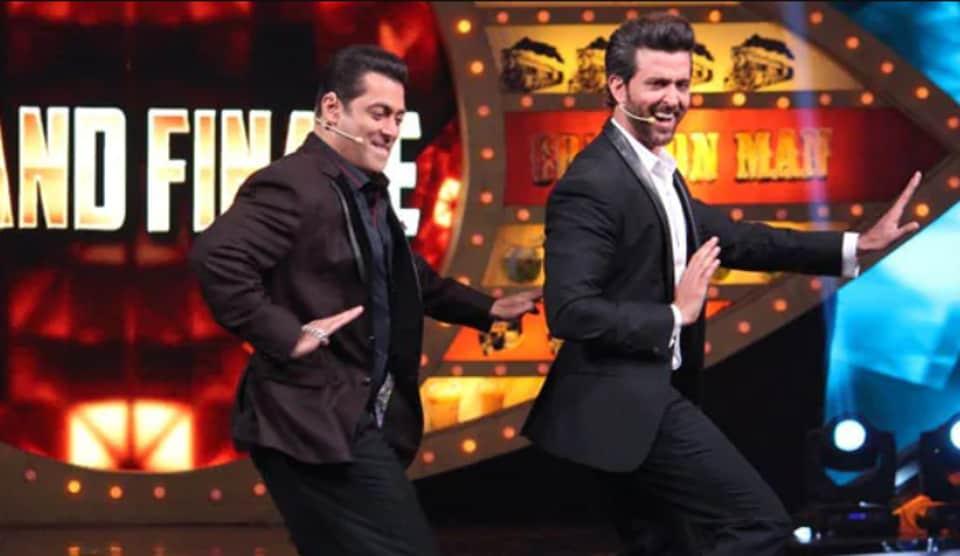 HrithikRoshan and SalmanKhan on the Bigg Boss 10 finale.