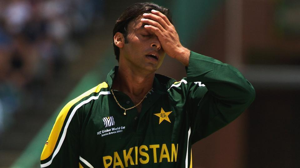 A dejected Shoaib Akhtar during the ICC Cricket World Cup 2003.