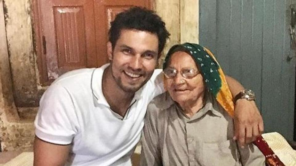 Randeep Hooda poses with grandmom in this throwback picture.