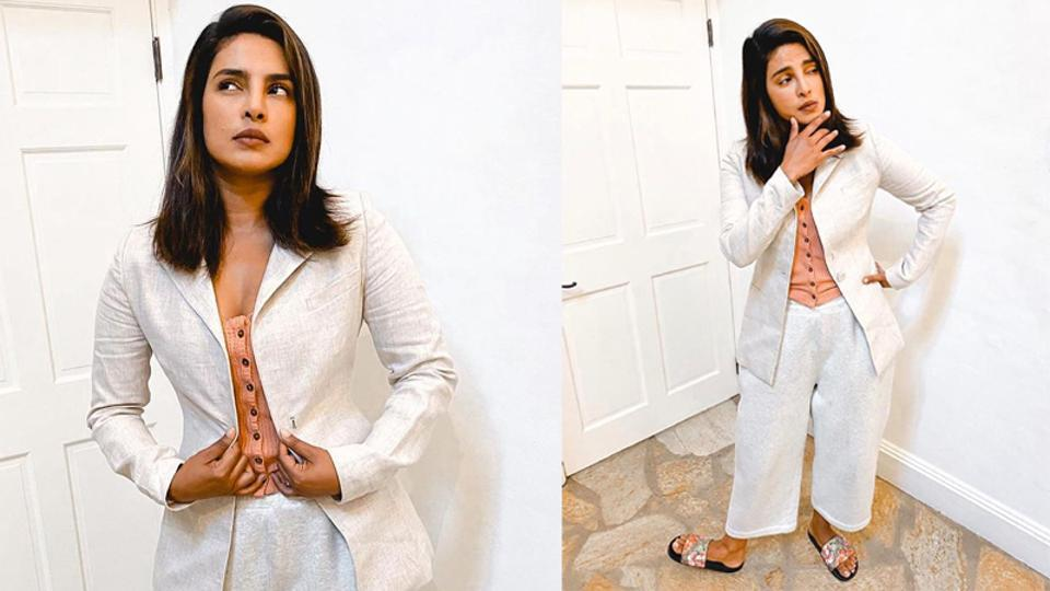 Priyanka Chopra suits up for work from home, ditches stilettos for bathroom slippers. See pics