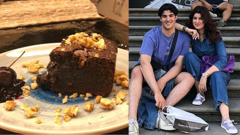 Akshay Kumar's Aarav made a chocolate brownie cake at home.