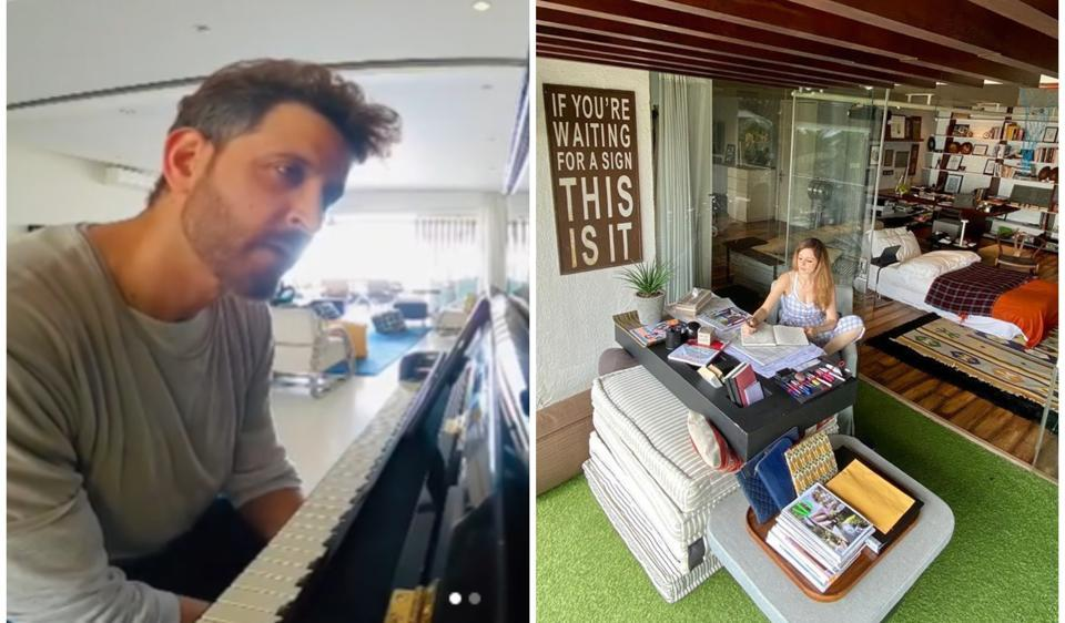 Hrithik Roshan and Sussanne Khan have been sharing pictures and videos from inside his sea-facing home.
