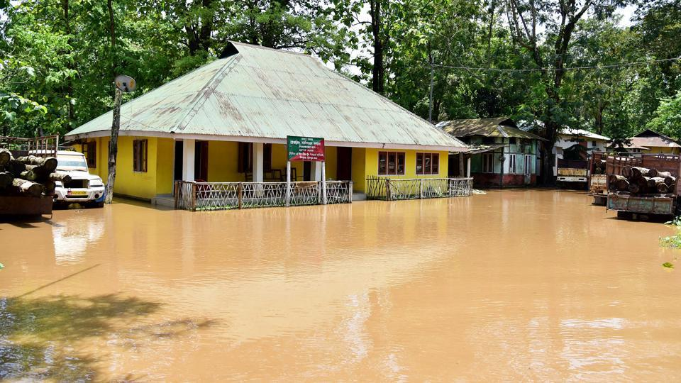 An Assam forest department office inundated due to flash floods at Boko in Kamrup on May 26. Nearly two lakh people in seven districts in Assam have been affected by floods as incessant rain across much of the state worsened the situation on yesterday. (ANI)
