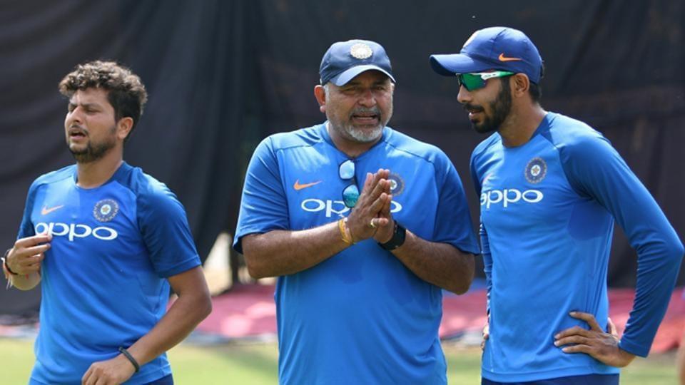 India's bowling coach Bharat Arun with Jasprit Bumrah