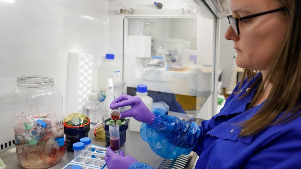 Blood samples from coronavirus patients are prepared for analysis as part of the TACTIC-R trial, in the Blood Processing Lab in the Cambridge Institute of Therapeutic Immunology and Infectious Disease, in Cambridge, UK.