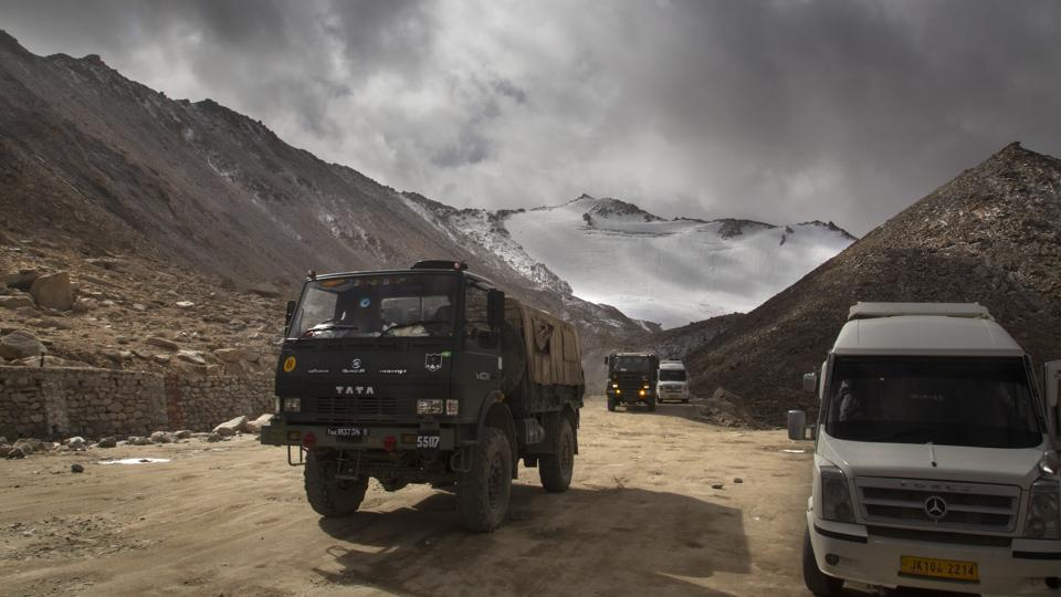 An Indian Army truck crosses Chang la pass near Pangong Lake in Ladakh region in this file photo.