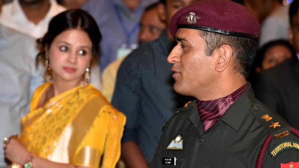 Indian cricketer MS Dhoni with wife Sakshi Singh during the Padma Awards 2018 function at Rastrapati Bhawan in New Delhi.
