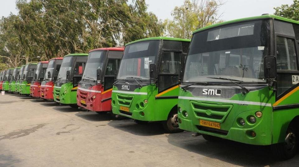 CTU buses parked at inter-state bus terminus in Sector 17 during the lockdown in Chandigarh.