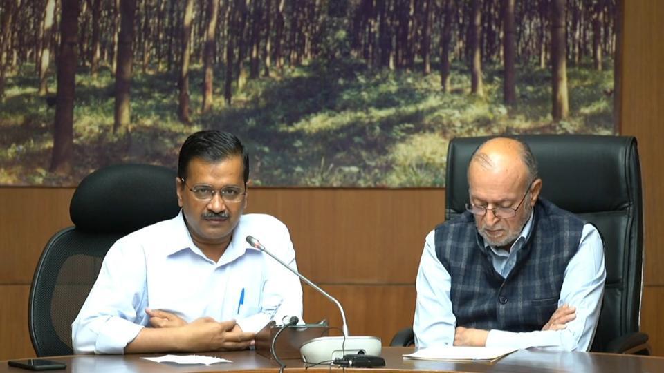 Delhi Lt. Governor Anil Baijal and Chief Minister Arvind Kejriwal addresses a digital press conference